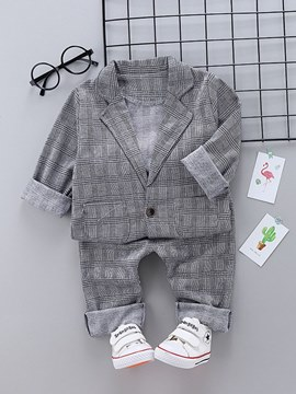 Ericdress Plaid Coats & Pants Baby Boy's Casual Outfits