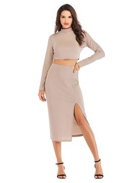 Ericdress T-Shirt and Skirt Bodycon Split Women's Two Piece Set