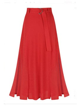 Ericdress Self Belted A Line Split Women's Maxi Skirt