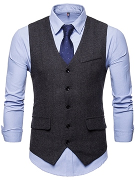 Ericdress Plain Single Breasted Mens Casual Dress Vest