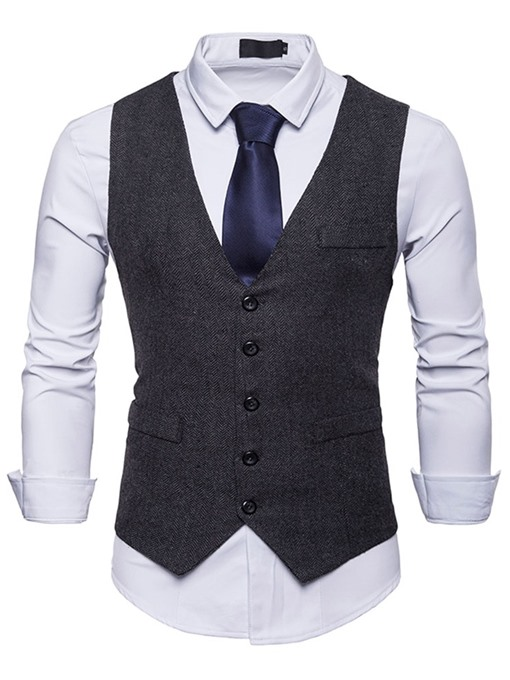 Ericdress Plain Pocket Single Breasted Mens Casual Dress Vest