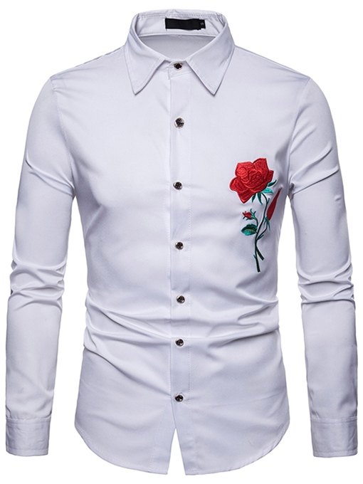 Ericdress Floral Printed Slim Button Up Lapel Mens Casual Dress Shirts