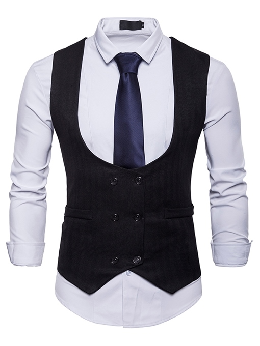 Ericdress Plain Double Breasted Pocket Mens Casual Dress Vest