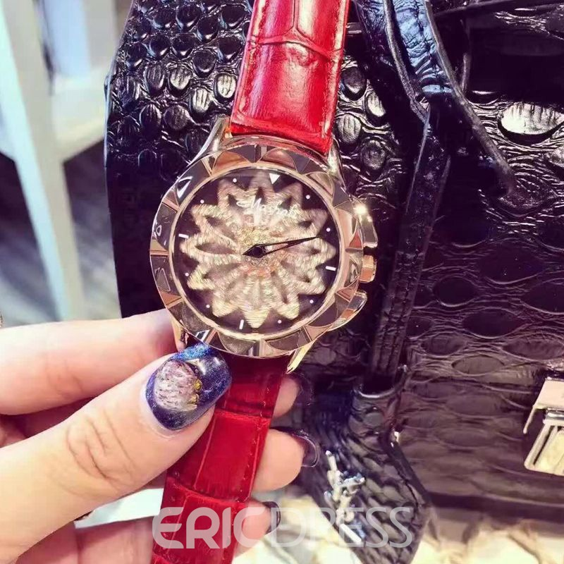 Ericdress Lotus Diamante Leather Watch For Women