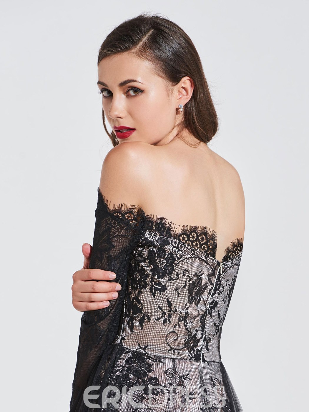 Ericdress Off the Shoulder Long Sleeves Lace Evening Dress