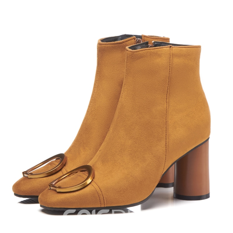 Ericdress Square Toe Side Zipper Women's Ankle Boots