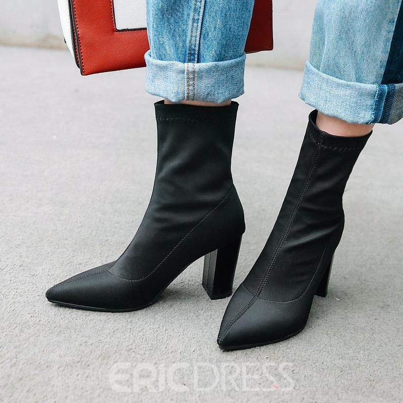Ericdress Pointed Toe Chunky Heel Women's Ankle Boots