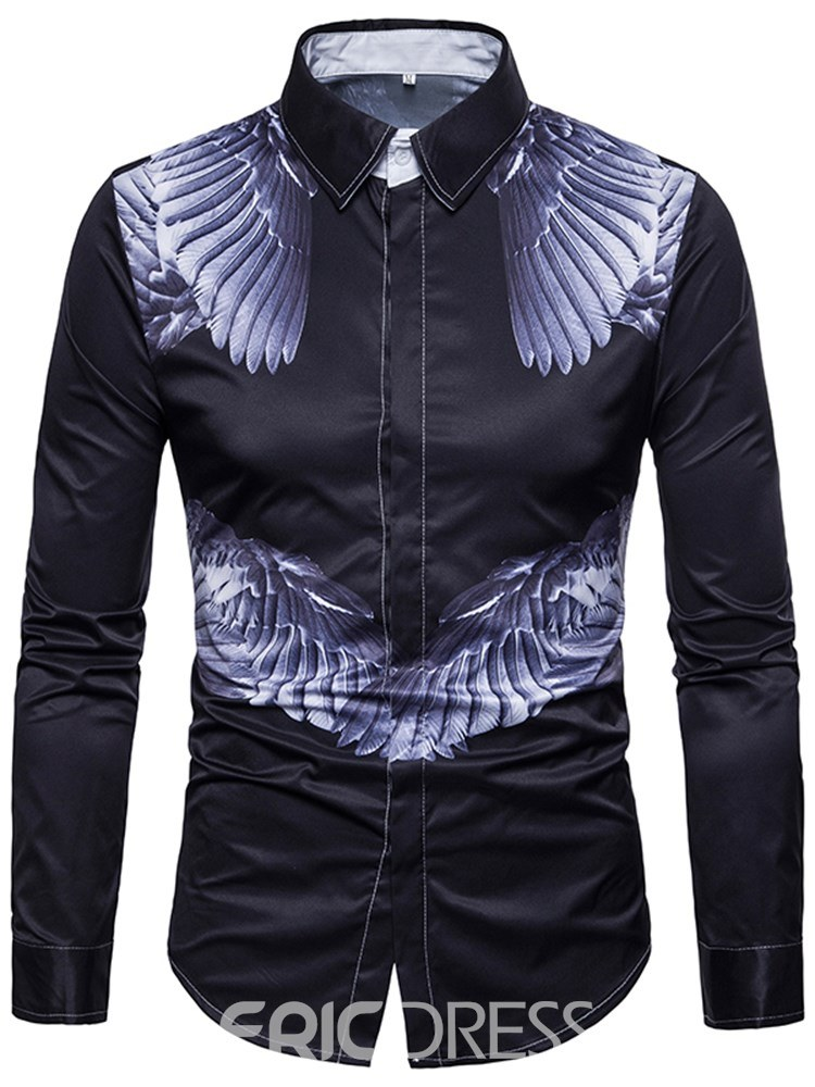 Ericdress Animal Printed Slim Lapel Mens Casual Shirts