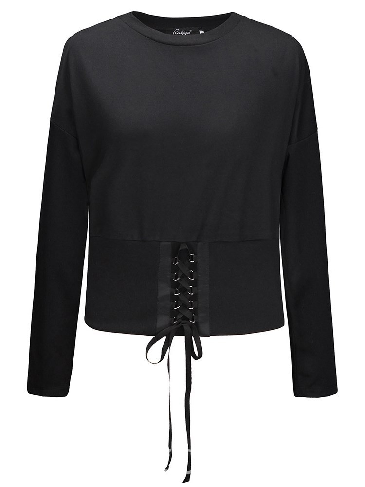 Ericdress Loose Casual Tie Front Long Sleeve T-shirt