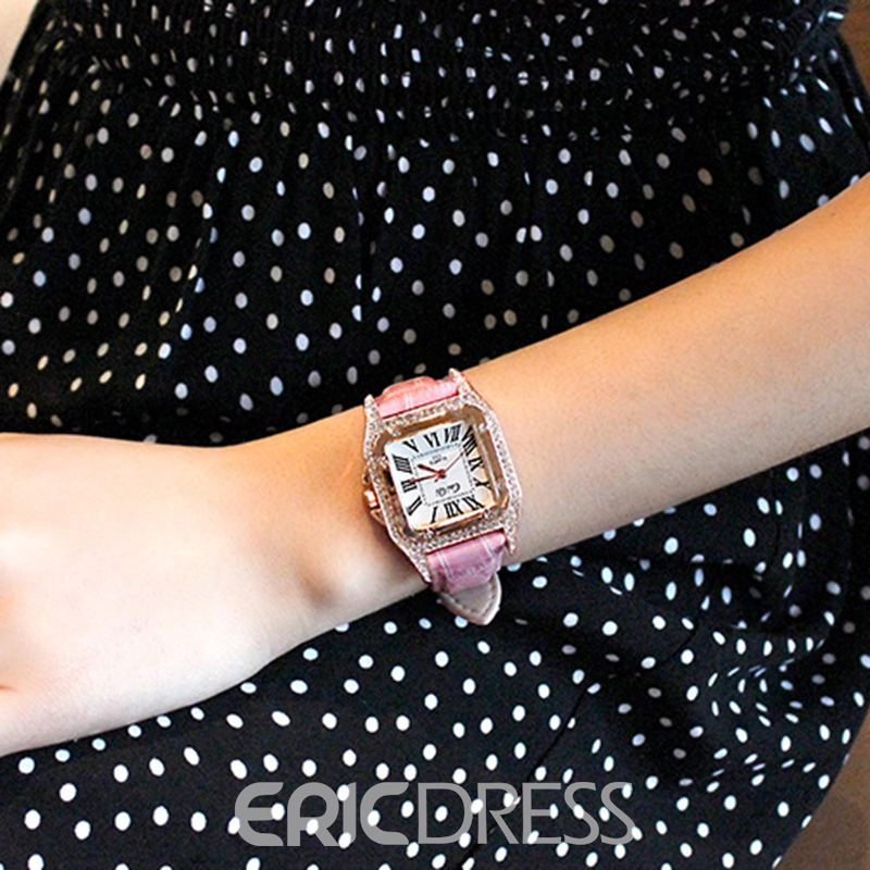 Ericdress Square Diamante PU Women Watch