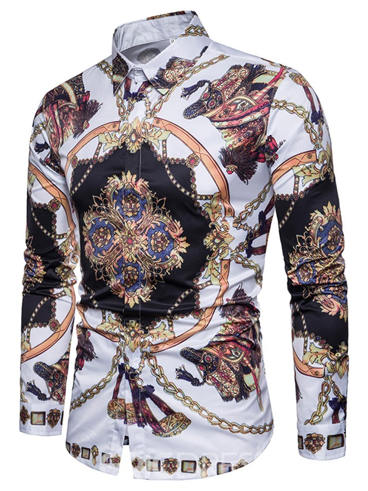 Ericdress Geometric Slim Lapel Button Up Mens Casual Shirts