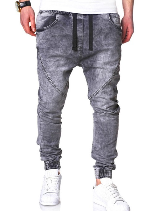 Ericdress Plain Lace Up Micro-Elastic Mens Casual Jeans