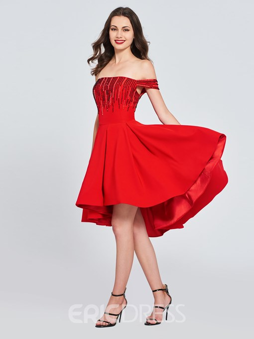 Ericdress High Low Off the SHoulder Homecoming Dress