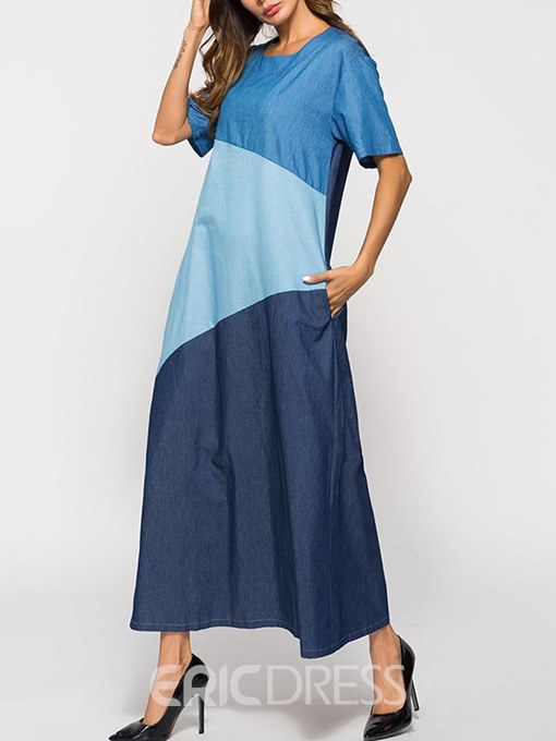 Ericdress Color Block Casual A-Line Women's Dress