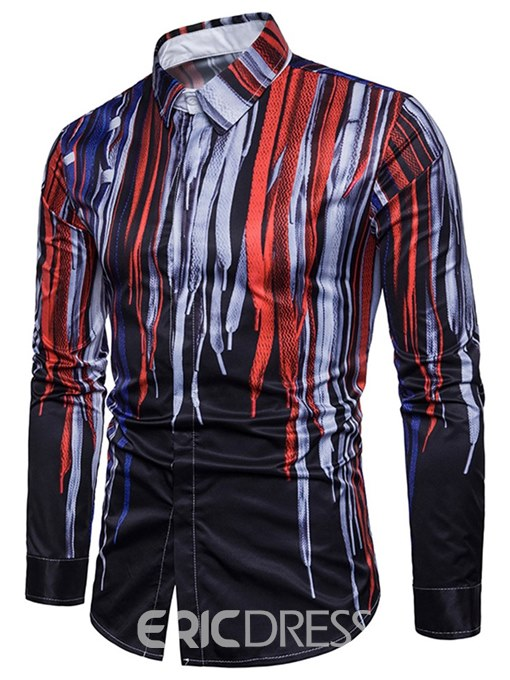 Ericdress Striped Print Color Block Button Up Mens Slim Casual Shirts