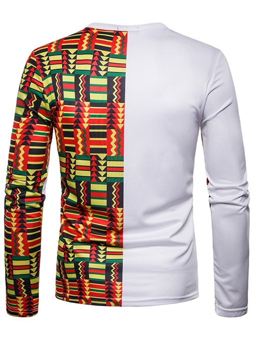 Ericdress Geometric Color Block Patchwork Mens Scoop T Shirts
