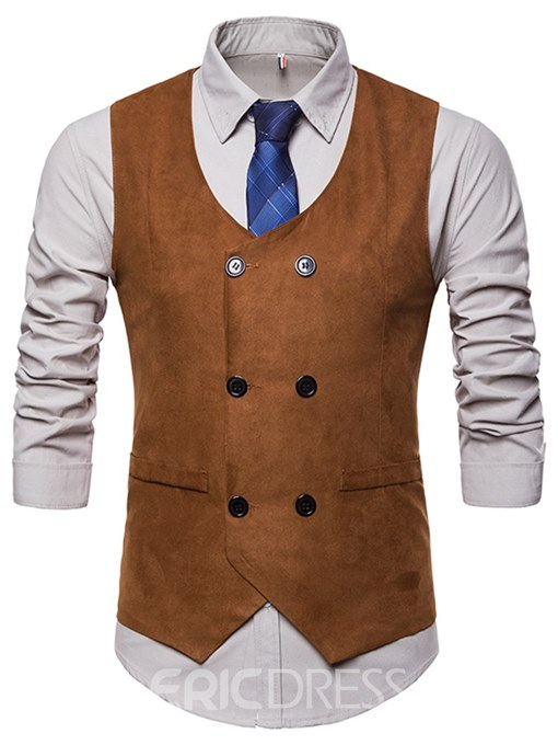 Ericdress Plain Pocket Double Breasted Mens Casual Dress Vest