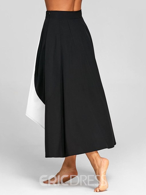 Ericdess Color Block Asymmetric Patchwork Women's Skirt