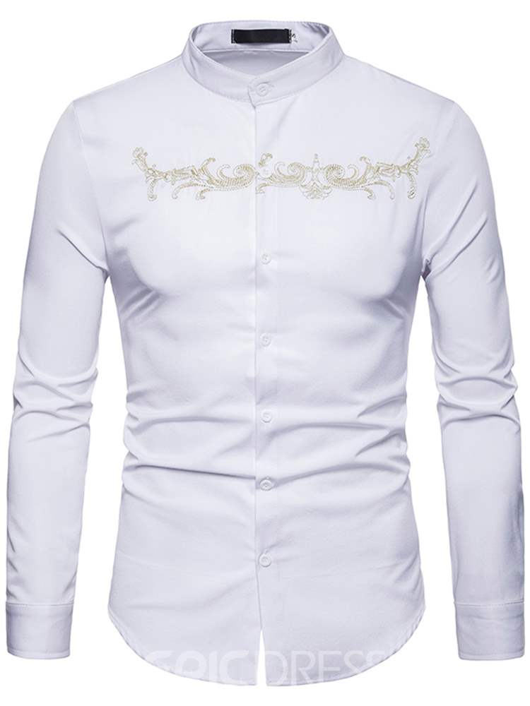Ericdress Golden Printed Stand Collar Slim Mens Casual Shirts