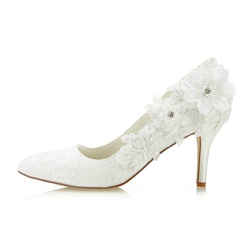 Ericdress Rhinestone Floral Stiletto Heel Wedding Shoes