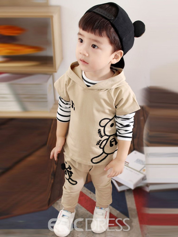 Ericdress Cartoon Printed Striped Baby Boy's 3 Pieces Outfits