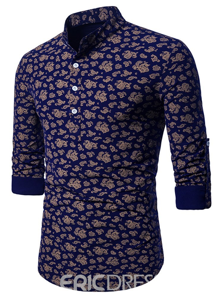 Ericdress Geometric Print Stand Collar Slim Mens Casual Shirts