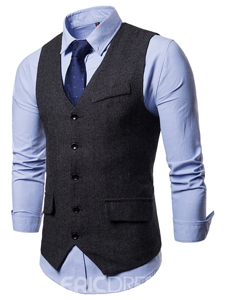ericdress liso sencillo breasted mens chaleco informal