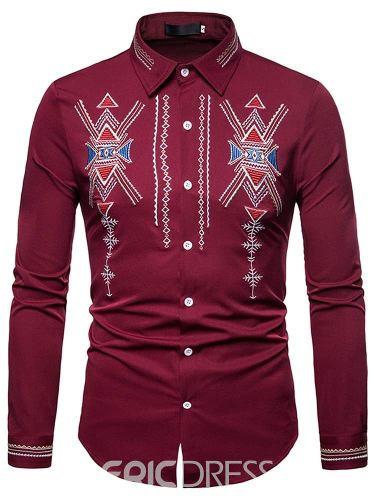 Ericdress Geometric Print Slim Lapel Button Up Mens Casual Shirts