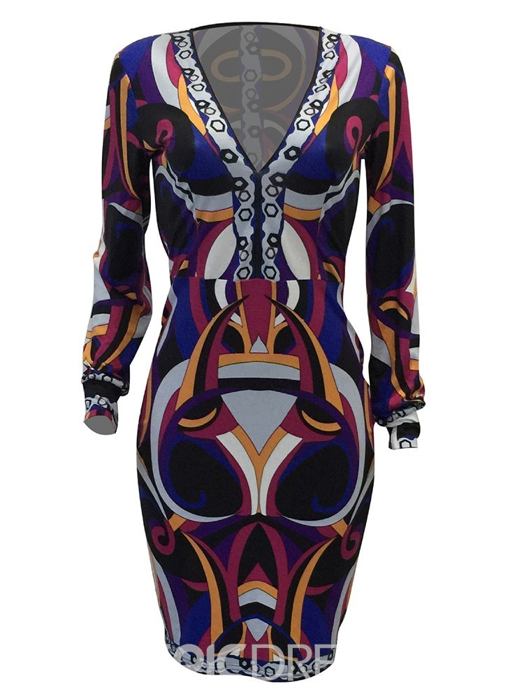 Ericdress Bodycon V-Neck Print Women's Dress