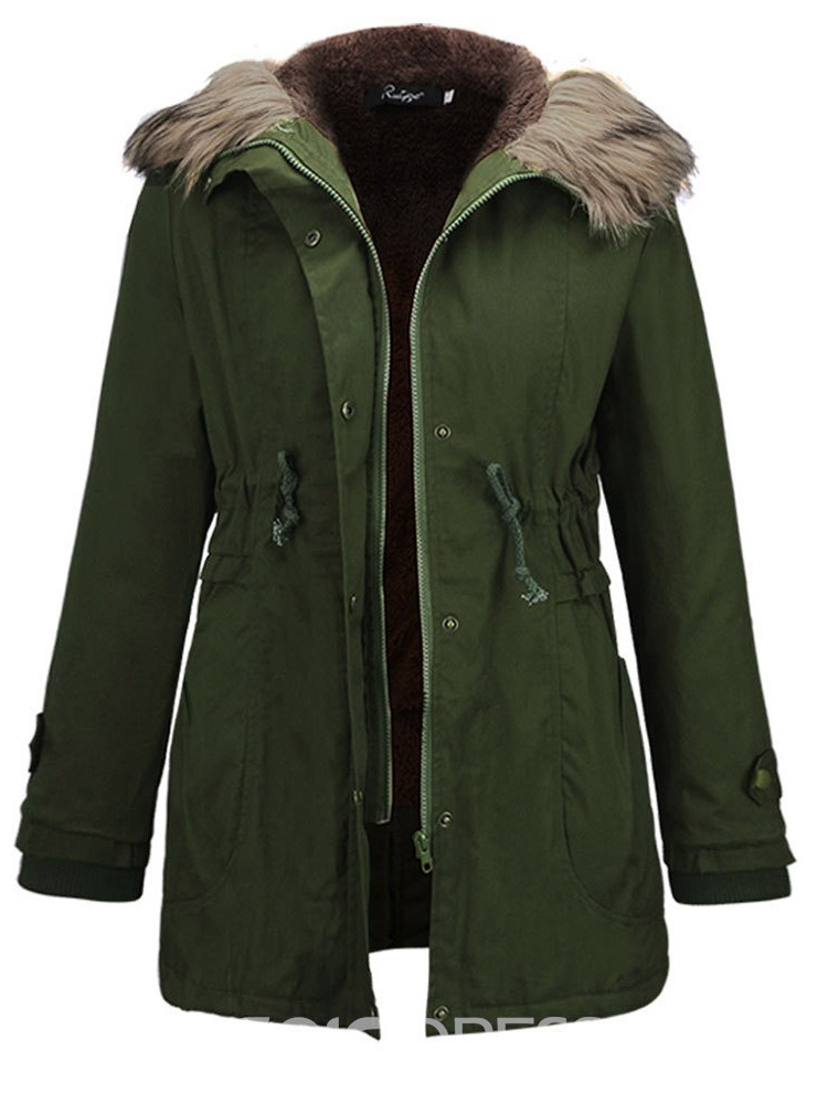 Ericdress Zipper Hooded Mid-Length Long Sleeves Trench Coat