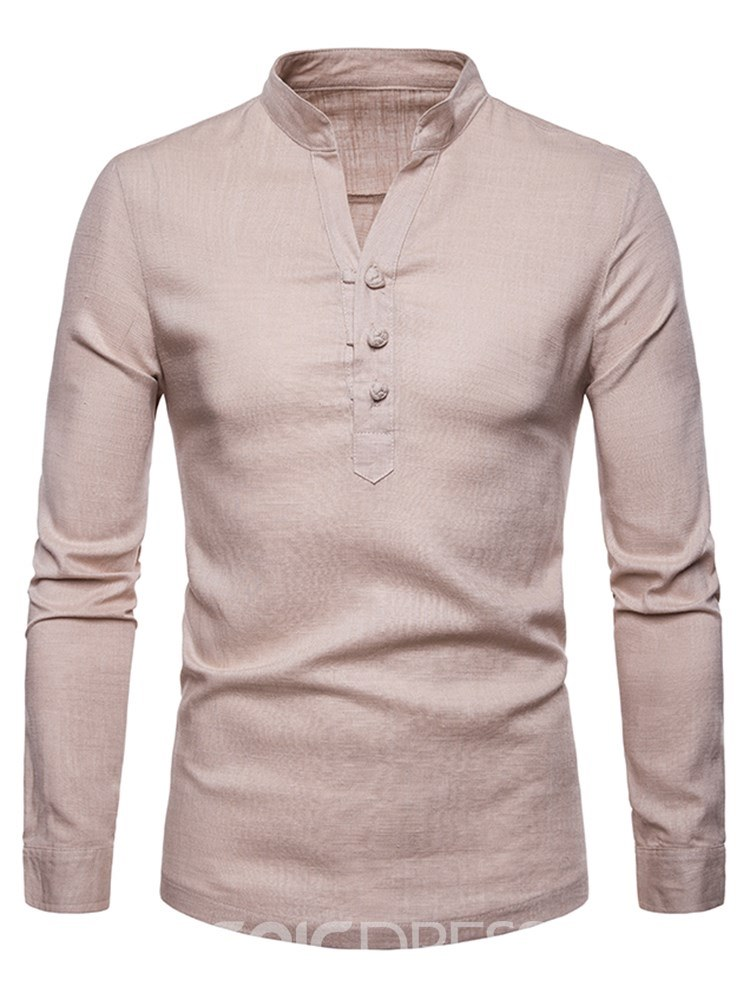 Ericdress Stand Collar V-Neck Plain Button Mens Casual Shirts