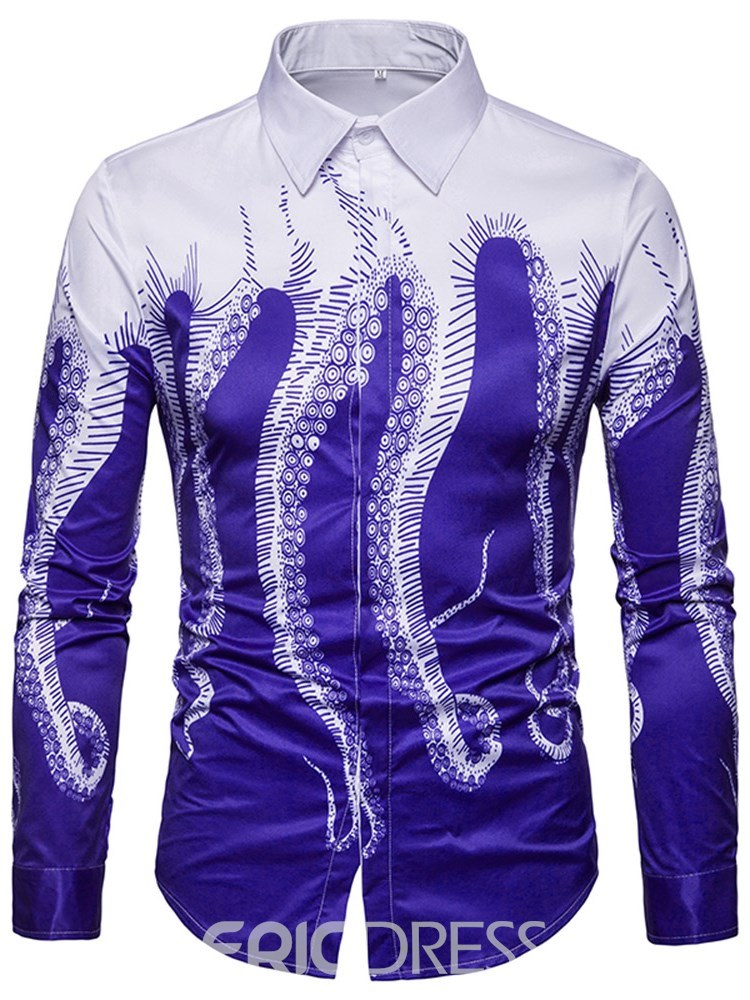 Ericdress Patchwork Printed Slim Button Up Mens Casual Shirts
