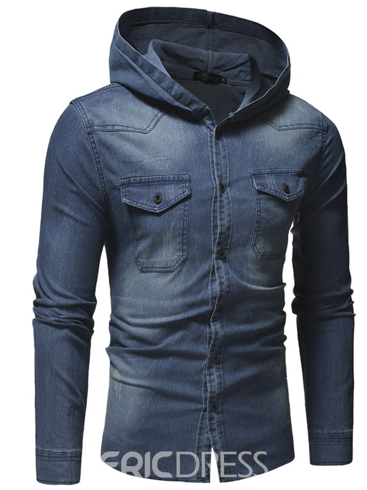 Ericdress Plain Hooded Slim Mens Thick Casual Shirts