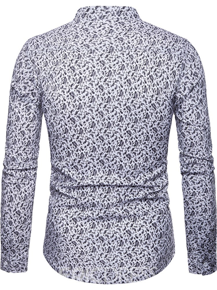 Ericdress Printed ButtonUp Slim Lapel Mens Casual Shirts
