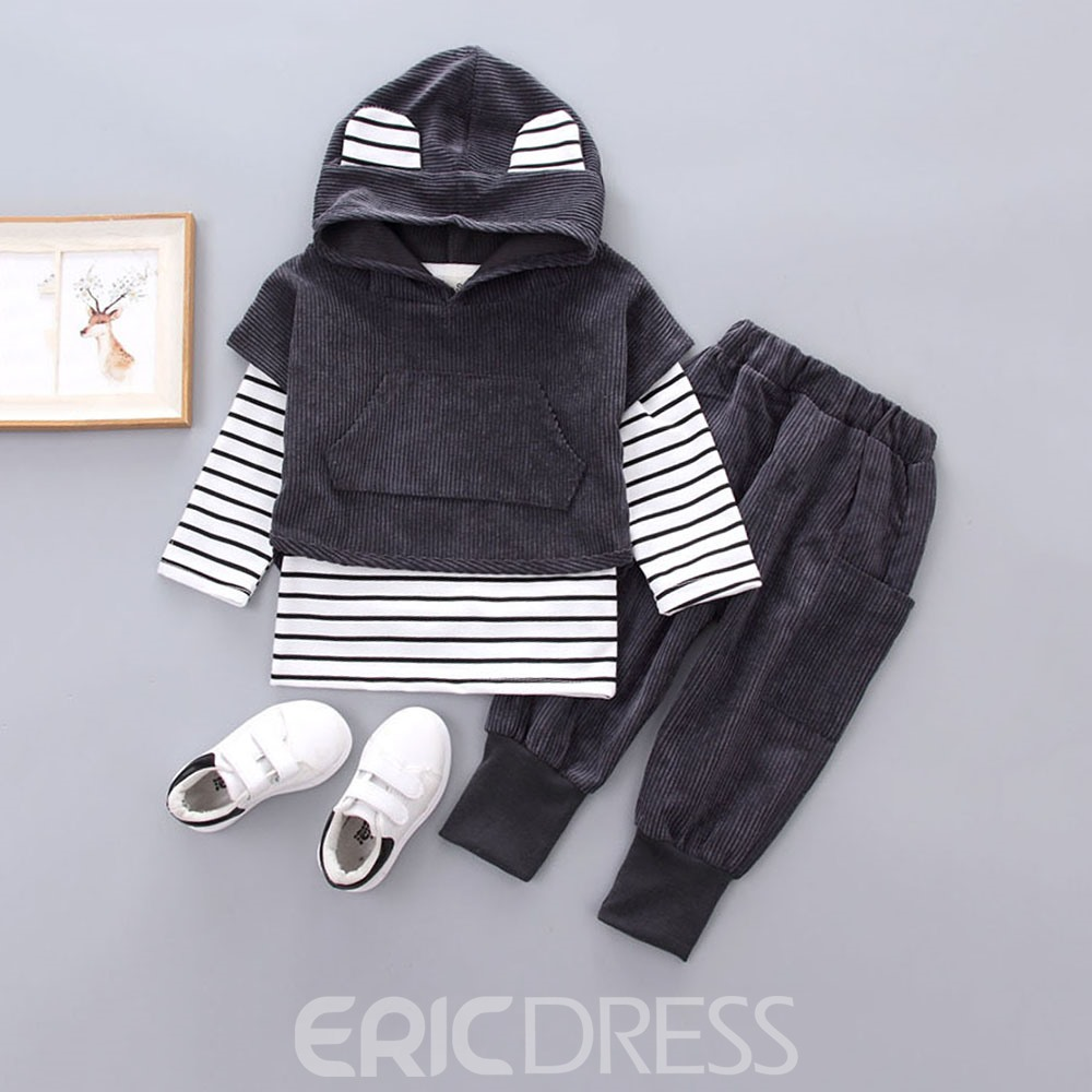 Ericdress Striped Plain Baby Boy's 3 Pieces Casual Oufits