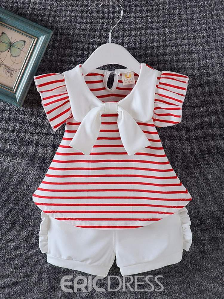 Ericdress Ruffles Striped Bowkont T Shirts & Shorts Baby Girl's Outfits
