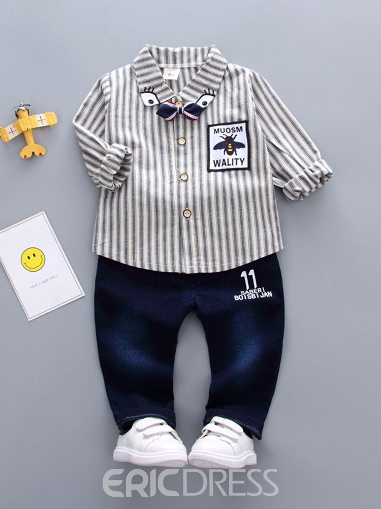 Ericdress Patchwork Striped Shirts & Pants Baby Boy's Outfits