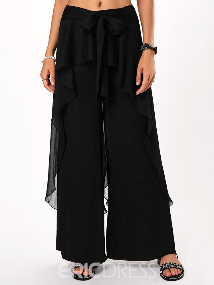 Ericdress Falbala Wide Legs Plain Women's Pants