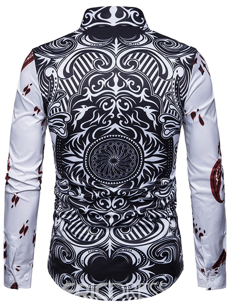 Ericdress Geometric Poker Printed Slim Mens Casual Unique Shirts