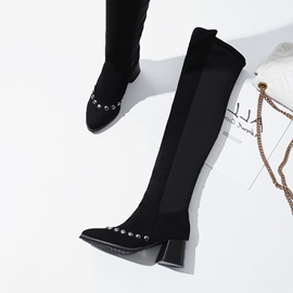 Ericdress Patchwork Chunky Heel Women's Knee High Boots