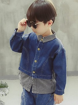 Ericdress Patchwork Plaid Lapel Boy's Denim Casual Jacket