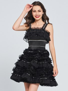 Ericdress A Line Straps Black Homecoming Dress With Beadings