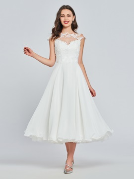 Ericdress A Line Cap Sleeve Applique Tea Length Prom Dress