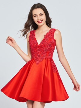 Ericdress A Line Applique Short Red Homecoming Dress