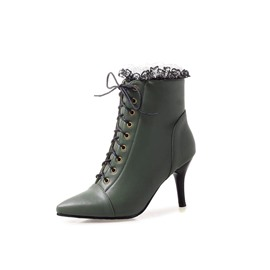 Ericdress PU Side Zipper Pointed Toe Women's Ankle Boots