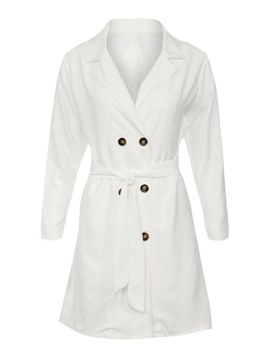 Ericdress Notched Lapel Double-Breasted Plain Trench Coat