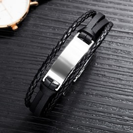 Ericdress Titanium Steel Leather Weave Men's Bracelet