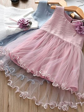 Ericdress Asymmetric Mesh Appliques A-Line Girl's Princess Dress