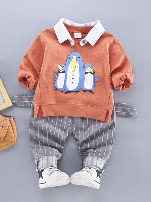 Ericdress Cartoon Stripe Printed Hoodies & Pants Baby Boy's Outfits