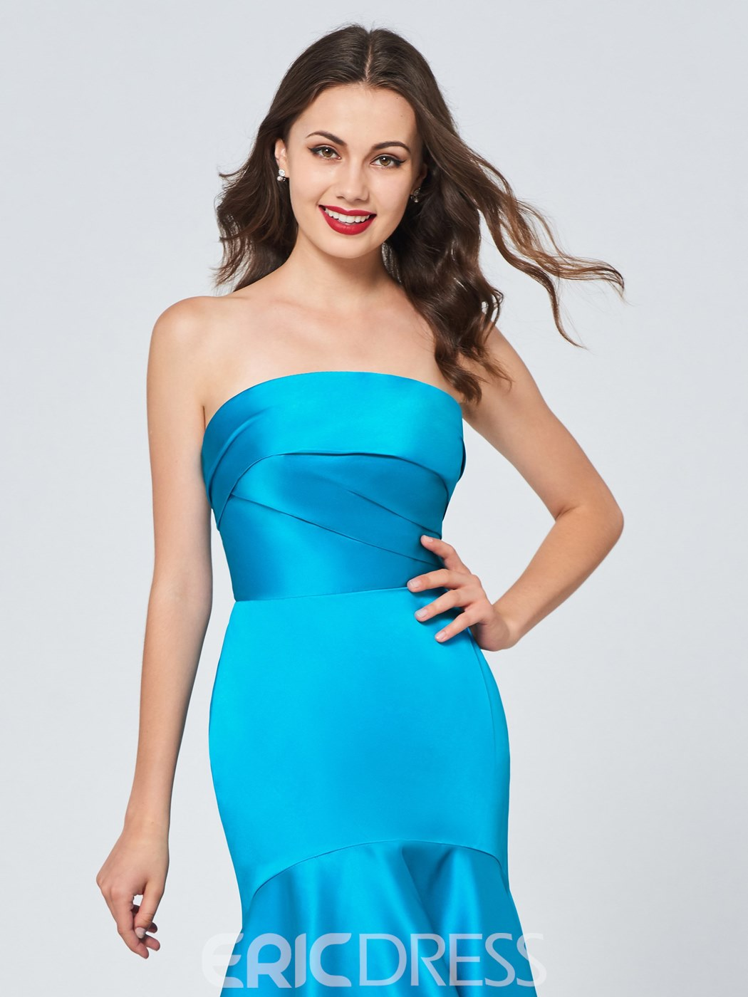 Ericdress Strapless Asymmetry Mermaid Homecoming Dress